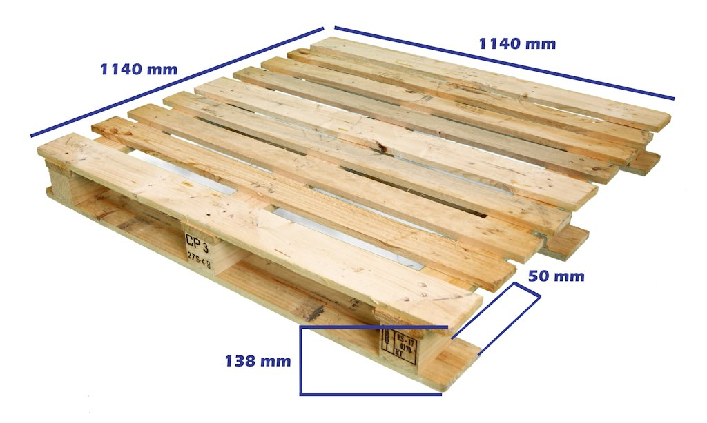 Palets cp industria qu mica palet cp3 1140 x 1140 reciclado for Medidas de palets de madera