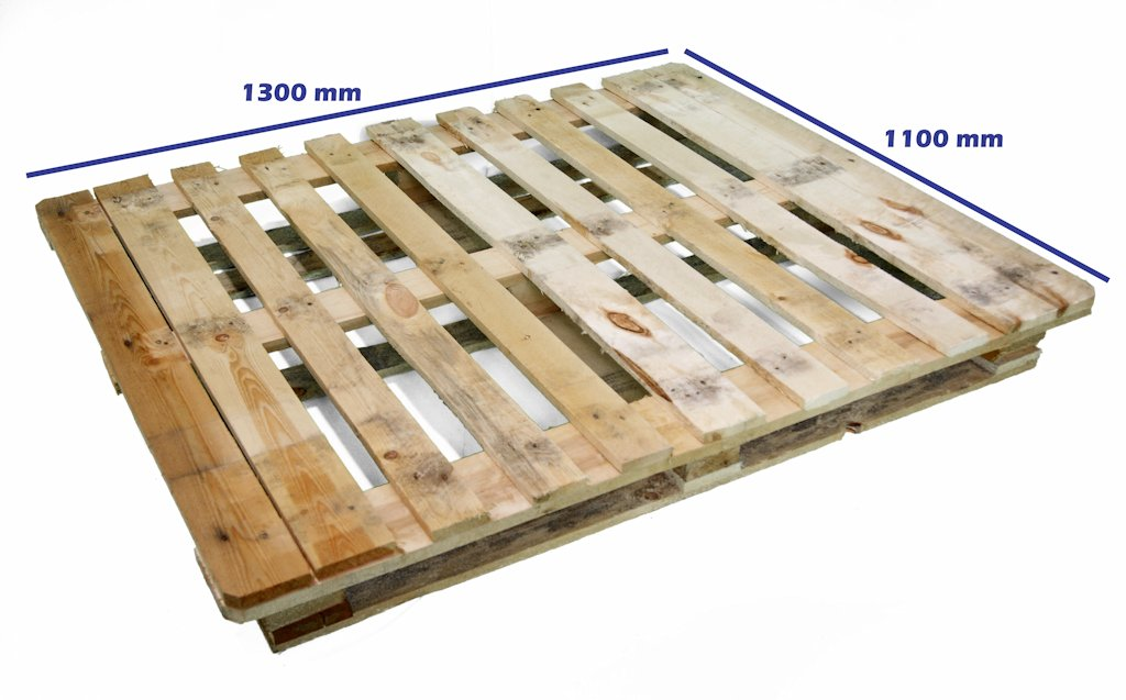 Palets cp industria qu mica palet cp7 1300 x 1100 reciclado for Medidas de palets de madera